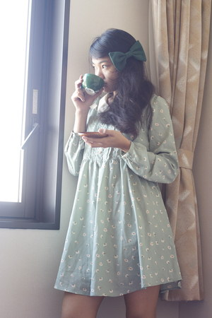 forest green bow American Apparel accessories - aquamarine from japan dress