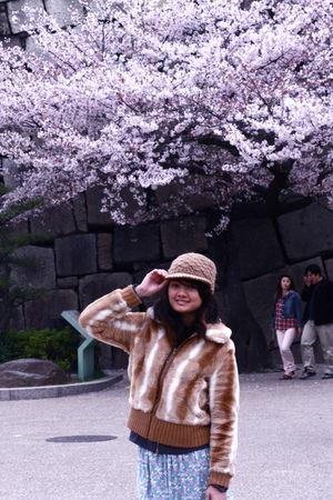 beige hat - beige jacket - gray jacket - blue skirt