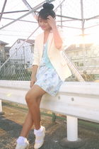 beige shoes - blue dress - beige blazer - white socks - blue cardigan