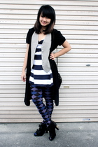 black random brand dress - gray random brand vest - blue Top Shop dress - blue C