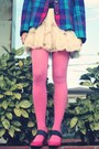 Bubble-gum-tights-violet-vintage-blazer-eggshell-iwearsin-skirt