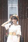 Brown-hat-pink-hanas-secret-dress-brown-belt-beige-possibility-shoes