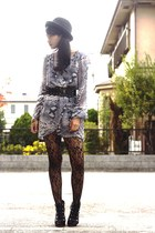 black wholesale-dressnet tights - black boots - gray InLoveWithFashioncom dress