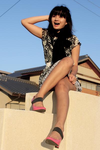 black Cinema Club scarf - pink Cinema Club shoes - black dress