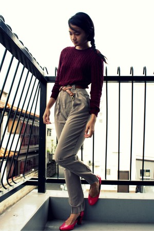 red American Apparel sweater - beige American Apparel pants - brown belt - pink