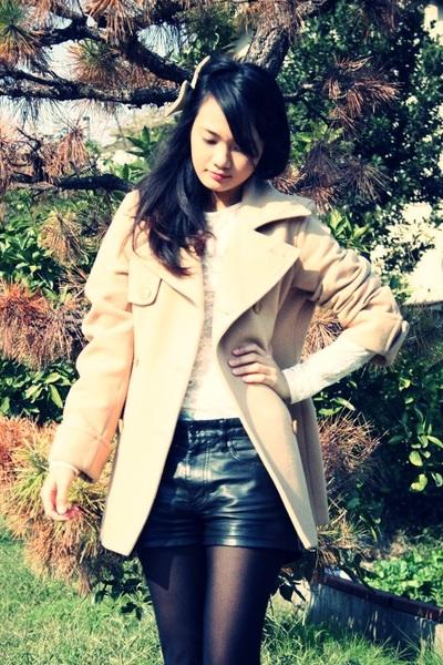 black H&M shoes - cream lace American Apparel dress - beige Michel Klein coat