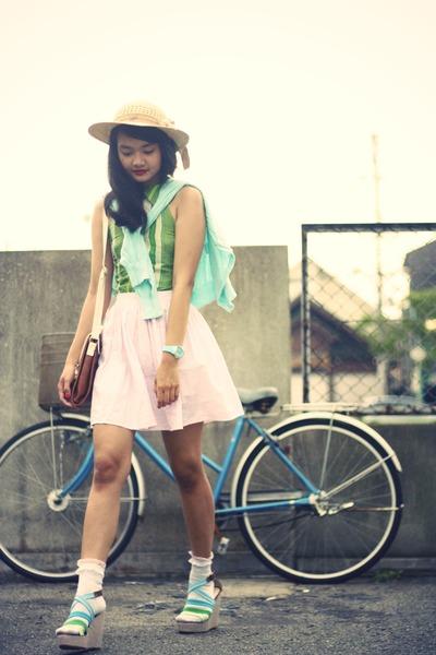sky blue Wholesale-Dress wedges - tan vintage hat
