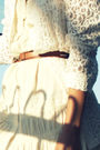 Beige-dress-white-blazer-brown-shoes-brown-belt