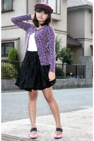 purple jacket - pink cinema club shoes - white blouse - black skirt