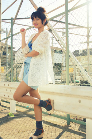 brown shoes - gray socks - white vintage cardigan - blue Forever 21 accessories