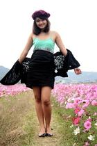 Uniqlo hat - dress - skirt - jacket - shoes