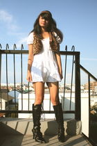 white dress - black boots - brown vest - brown belt