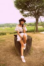 beige shoes - white dress - pink hat - white socks - brown Mango belt