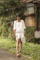 light pink Club Couture dress - white 3d flower mesh American Apparel jumper