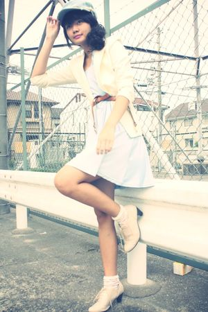 blue hat - white blazer - blue Pearlavish dress - white socks - beige shoes - br