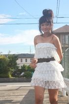 white Shoponblogcom dress - brown Mango belt