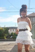 white Shoponblogcom dress - brown Mango belt