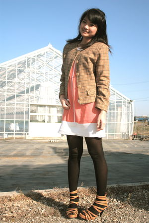 beige vintage blazer - orange dress - black tights - brown Possibility shoes