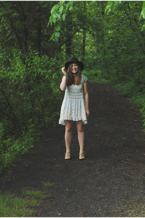 free people dress - thrifted shoes - Forever 21 hat - free people bra