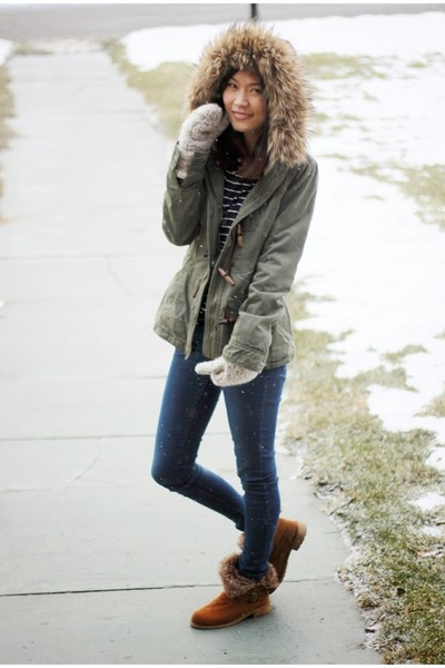 brown Forever 21 boots - navy skinny H&M jeans