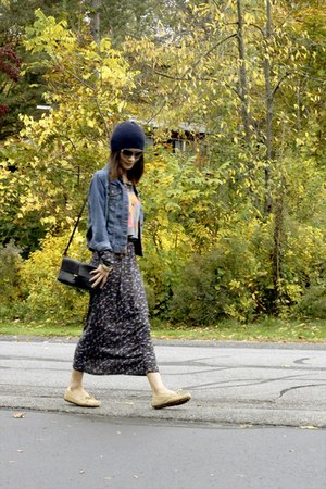 maxi skirt Zara skirt - navy winter hm hat - leather Zara bag