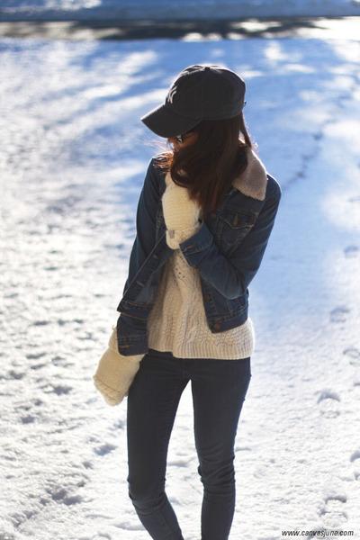 navy skinny H&M jeans - navy cap 47 Bran hat - navy denim H&M jacket