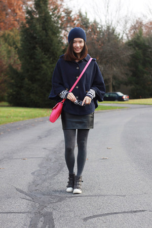 navy cape Forever 21 coat - navy beanie H&M hat