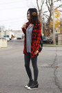Red-plaid-h-m-shirt-gray-h-m-tights-red-h-m-sunglasses-gray-2r-wedges