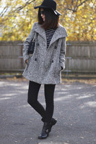 charcoal gray wool calvin klein coat - black leather Nine West boots