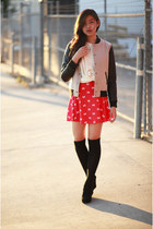 red Forever 21 dress - camel unknown jacket - ivory Forever 21 sweater