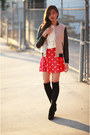 Red-forever-21-dress-camel-unknown-jacket-ivory-forever-21-sweater