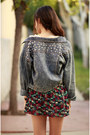 Red-patterned-ara-feel-dress-blue-spiked-denim-oasap-jacket