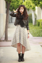 black JCPenney boots - heather gray Macys dress - black H&M jacket