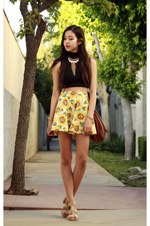 sunflower print OASAP skirt