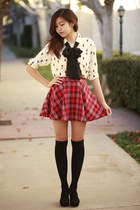 white Forever 21 shirt - black Forever 21 socks - red Forever 21 skirt