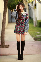 blue spiked denim OASAP jacket - red patterned Ara Feel dress