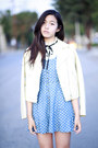 Sky-blue-forever-21-dress-white-uniqlo-jacket-ivory-ebay-top