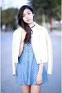 Sky-blue-forever-21-dress-white-uniqlo-jacket-ivory-ebay-top