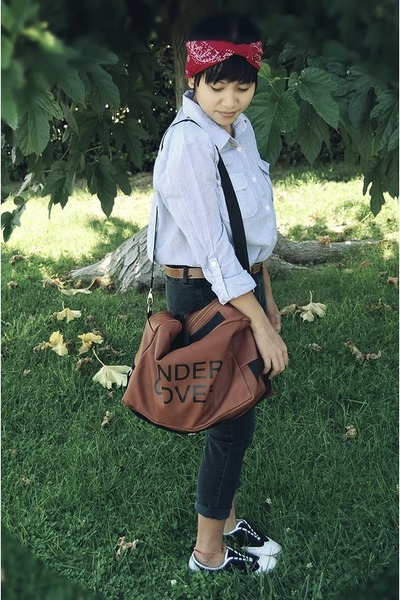 black Vans sneakers - dark brown OASAP bag - periwinkle Forever 21 blouse