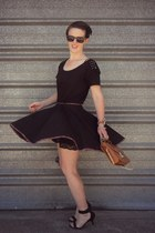 black custom made skirt - burnt orange thrifted bag - black Glassons t-shirt