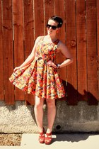 orange garage dress - brick red Glassons heels