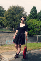 ruby red Kmart bag - brick red Boohoo shoes - black custom made skirt