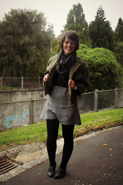 army green thrifted jacket - off white custom made dress - black asos jumper