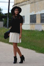 Black-chanel-boots-off-white-pleated-kensie-dress