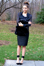 fur vintage jacket - asos skirt - plaid H&M blouse - Zara heels