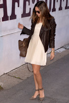 dark brown leather andrew marc jacket - ivory pleated kensie dress