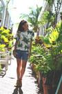 Black-chanel-bag-dark-green-floral-print-equipment-blouse