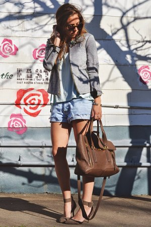 silver Elizabeth and James jacket - aquamarine H&M top - tan Zara heels
