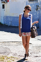 tan 31 Phillip Lim bag - violet banana republic blouse - ivory lace H&M vest