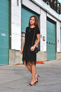 Black-fringe-mango-dress-black-chanel-bag